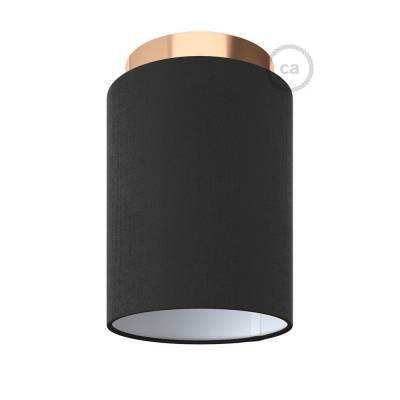 """Fermaluce with Black Canvas Cylinder Lampshade, copper finish metal, Ø 5.90"""" h7.10"""", for wall or ceiling mount"""