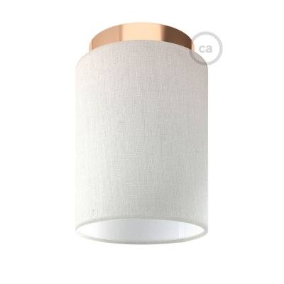 """Fermaluce with White Raw Cotton Cylinder Lampshade, copper finish metal, Ø 5.90"""" h7.10"""", for wall or ceiling mount"""