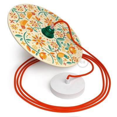 Poroli Illustrated - Ready to hang UFO Pendant light with double-sided lampshade - Fire Red cotton fabric wire
