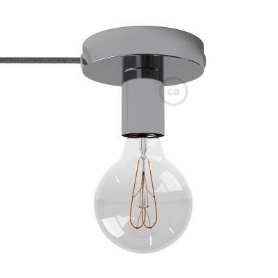 Spostaluce, the chromed metal light source with fabric cable and side holes