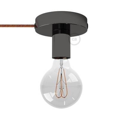 Spostaluce, the black pearl metal light source with fabric cable and side holes