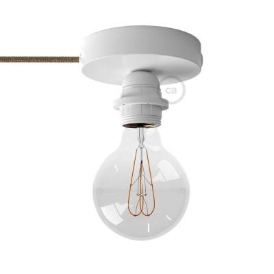 Spostaluce, the white metal light source with E26 threaded socket, fabric cable and side holes
