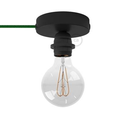 Spostaluce, the black metal light source with E26 threaded socket, fabric cable and side holes