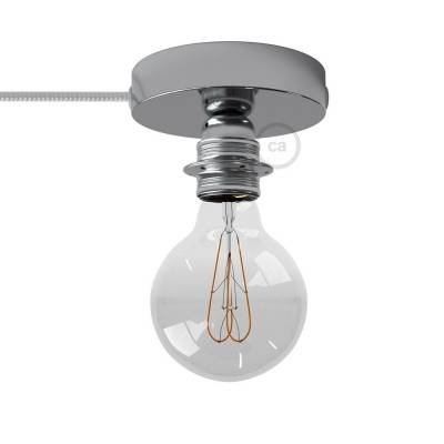 Spostaluce, the chromed metal light source with E26 threaded socket, fabric cable and side holes