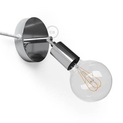 Spostaluce Metallo 90°, the chromed adjustable light source with fabric cable and side holes