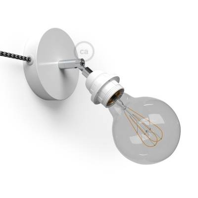 Spostaluce Metallo 90°, the white adjustable light source with E26 threaded socket, fabric cable and side holes