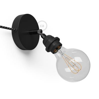 Spostaluce Metallo 90°, the black adjustable light source with E26 threaded socket, fabric cable and side holes