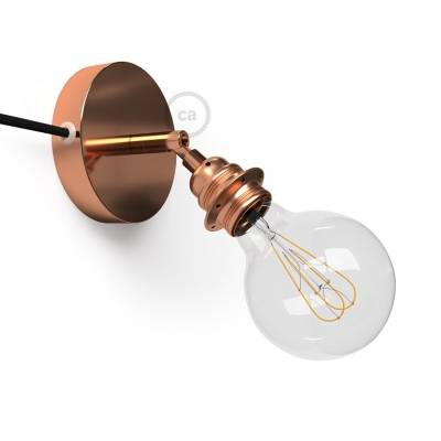 Spostaluce Metallo 90°, the coppered adjustable light source with E26 threaded socket, fabric cable and side holes