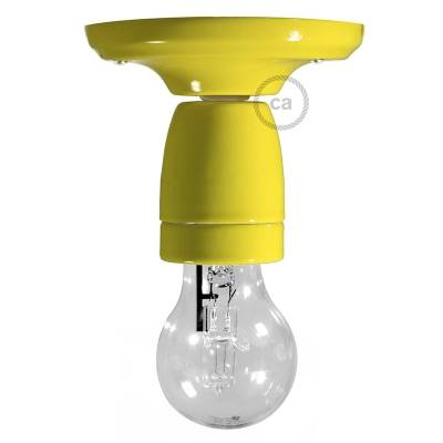 Fermaluce Classic, the wall or ceiling light source in yellow porcelain.