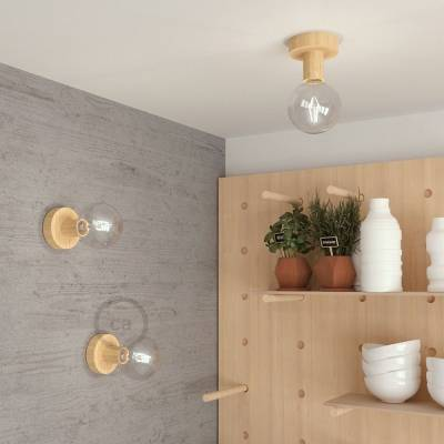 "Natural Fermaluce, the natural wood flush light for your wall or ceiling, 3.8""."