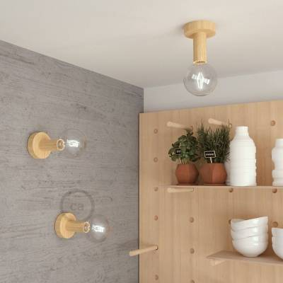 "Natural Fermaluce, the natural wood flush light for your wall or ceiling, 5.6""."