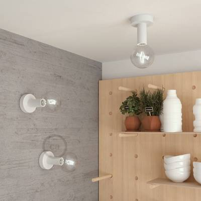 "Natural Fermaluce, the white painted wooden flush light for your wall or ceiling, 5.6""."
