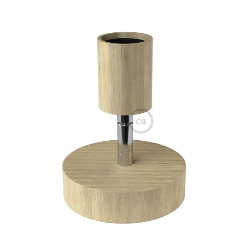 "Fermaluce Natural 90°, the adjustable natural wood flush light for your wall or ceiling, 6.2""."