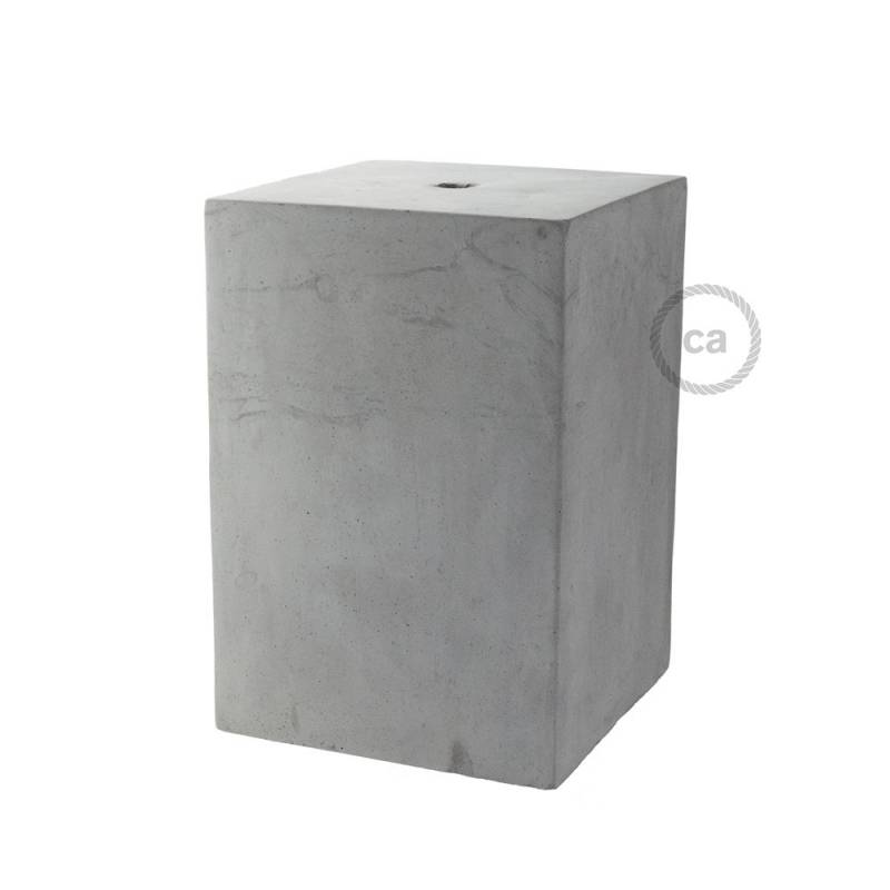 Cube cement lampshade with cable retainer and E26 socket