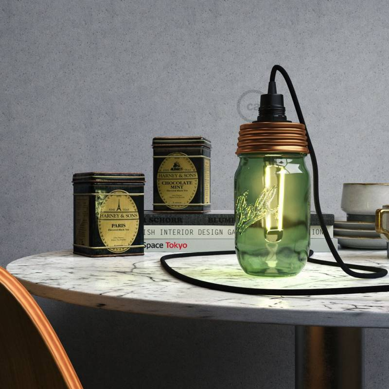 Bronze metal Mason Jar Pendant lighting Kit with conical strain relief and E12 Black phenolic socket