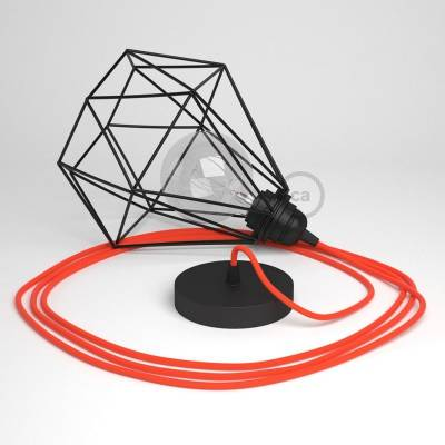 Swag Lamp Pendant Light with Black Diamond light bulb cage & Neon Orange (RF15) Rayon cloth covered wire