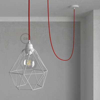 Swag Lamp Pendant Light with White Diamond light bulb cage & Red (RM09) Rayon cloth covered wire