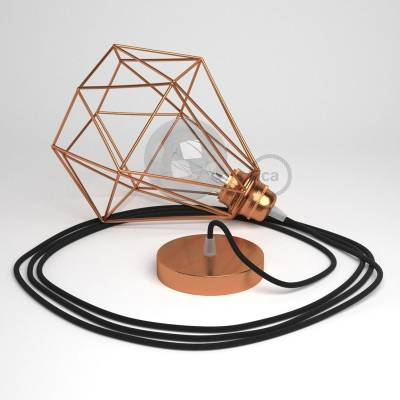 Swag Lamp Pendant Light with Copper Diamond light bulb cage & Black (RC04) Cotton cloth covered wire