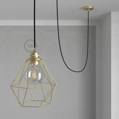 Swag Lamp Pendant Light with Brass Diamond light bulb cage & Black (RM04) Rayon cloth covered wire