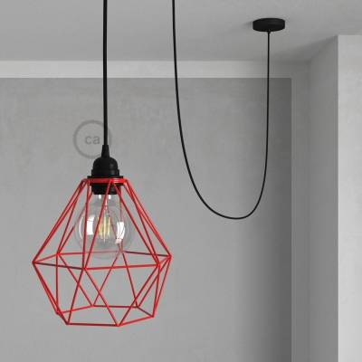 Swag Lamp Pendant Light with Red Diamond light bulb cage & Black (RM04) Rayon cloth covered wire