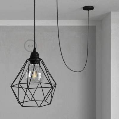 Swag Lamp Pendant Light with Black Diamond light bulb cage & Anthracite Natural Linen (RN03) cloth covered wire