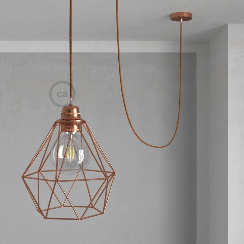 Swag Lamp Pendant Light with Copper Diamond light bulb cage & Copper Glitter (RL22) cloth covered wire
