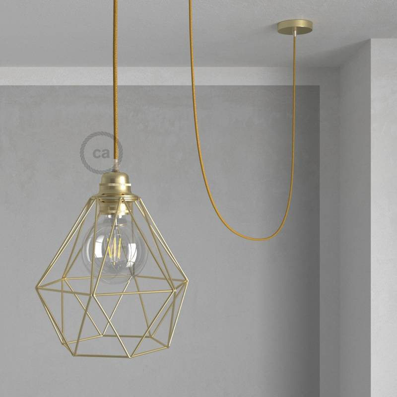 Swag Lamp Vintage Style Pendant Light With Brass Diamond Light Bulb Cage Gold Glitter Color Lamp Cord Creative Cables
