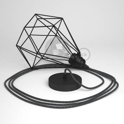 Swag Lamp Pendant Light with Black Diamond light bulb cage & White & Black Rayon (RT41) cloth covered wire