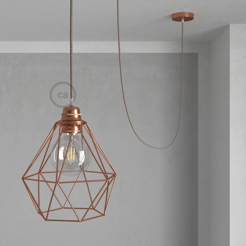 Swag Lamp Pendant Light With Copper Diamond Bulb Cage Natural Brown Linen Rd63 Cloth Covered Wire