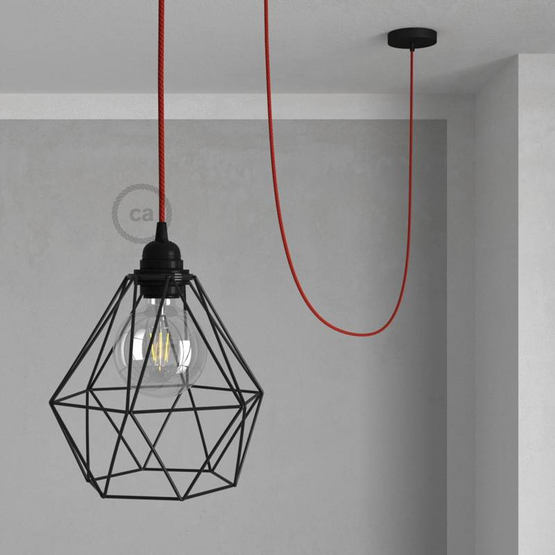 Swag Lamp Pendant Light with Black Diamond light bulb cage & Red & Black Rayon (RT94) cloth covered wire