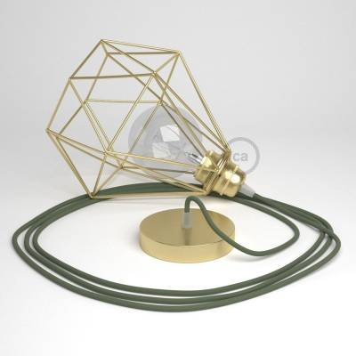 Swag Lamp Pendant Light with Brass Diamond light bulb cage & Green Gray Cotton (RC63) cloth covered wire