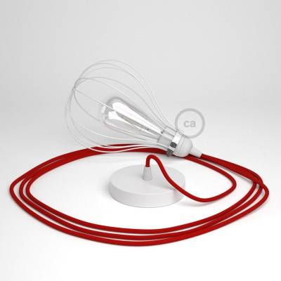 Pendant Light with White Drop cage - (RM09) Red Rayon cable