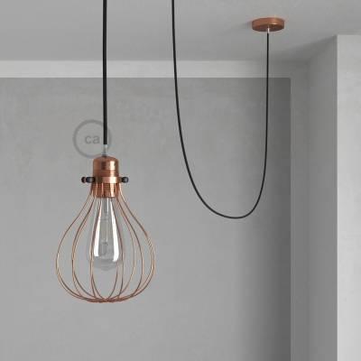 Pendant Light with Copper finish Drop cage - (RC04) Black Cotton Cable