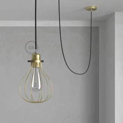 Pendant Light with Brass finish Drop cage - (RM04) Black Rayon cable