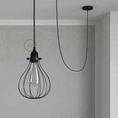 Pendant Light with Black Drop cage - (RN03) Charcoal Natural Linen cable
