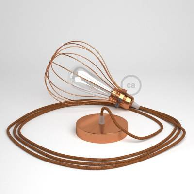 Pendant lamp with Copper finish Drop cage - (RL22) Glitter Copper Rayon cable