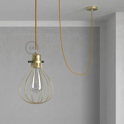 Pendant Light with Brass finish Drop cage - (RL05) Glitter Gold Rayon cable