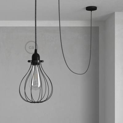 Pendant Light with Black Drop cage - (RT41) Black & White Tracer Rayon cable