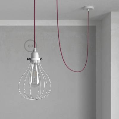 Pendant Light with White Drop cage - (RC32) Raspberry Cotton cable