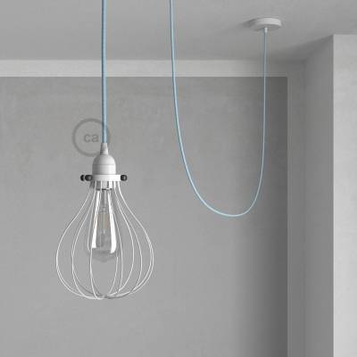 Pendant Light with White Drop cage - (RD75) Natural & Blue Linen Chevron cable