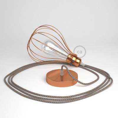 Pendant Light with Copper finish Drop cage - (RD63) Natural & Brown Linen CrissCross cable