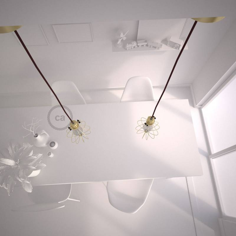 Pendant Light with Brass finish Drop cage - (RM19) Burgundy Rayon cable