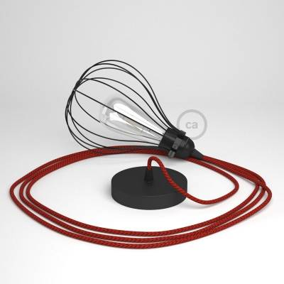 Pendant Light with Black Drop cage - (RT94) Red & Black Tracer Rayon cable