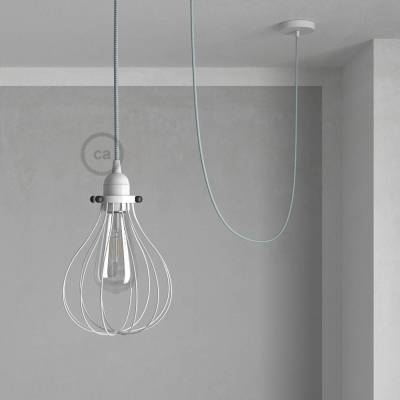 Pendant Light with White Drop cage - (RT14) White & Black Tracer Rayon cable