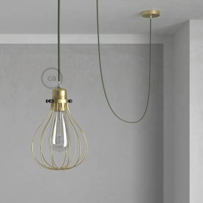 Pendant Light with Brass finish Drop cage - (RC63) Grey Green Cotton cable