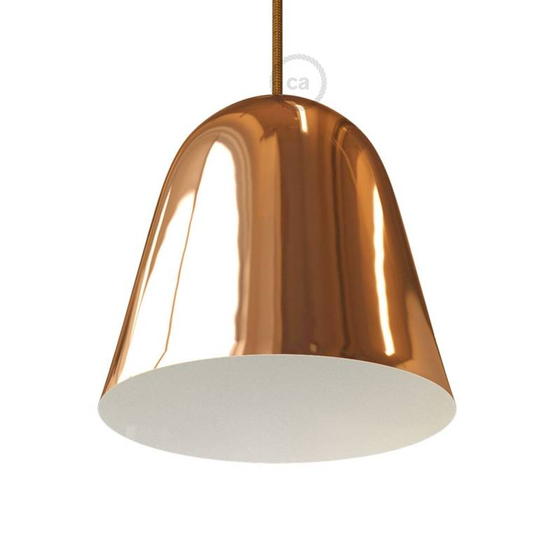 Shiny Copper Metal Bell Lampshade with cable retainer and E26 socket