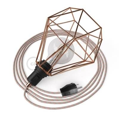 Table Snake - Table Lamp with Copper Diamond light bulb cage