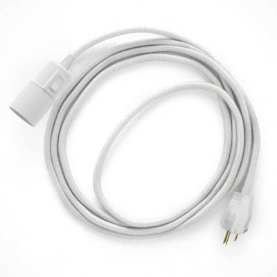 Plug-in Pendant with switch on socket   RC01 White Cotton