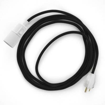 Plug-in Pendant with switch on socket   RC04 Black Cotton