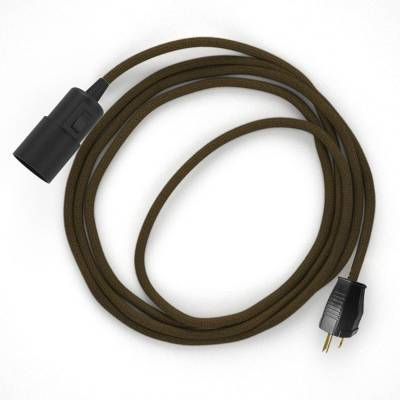 Plug-in Pendant with switch on socket   RC13 Brown Cotton